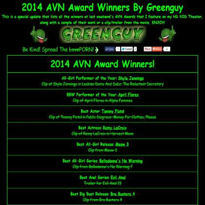 2014 AVN Award Winners By Greenguy